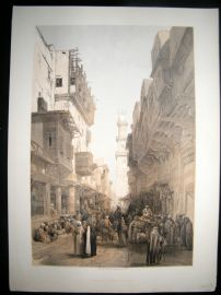 David Roberts Egypt 1849 LG Folio. Mosque of El Mooristan, Cairo. Lithograph